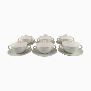 Royal Copenhagen White Salto Service Bouillon Cups with Saucers by Axel Salto, 1960s, Set of 12
