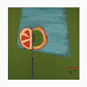 Christina Oprea, acrílico y témpera sobre cartón, composición abstracta