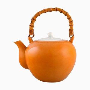 Porcelain Teapot with a Bamboo Handle by Kenji Fujita for Tackett Associates