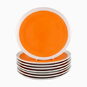 Teller aus Porzellan mit Orangenfarbener Glasur von Lagardo Tackett für Schmid, 8er Set