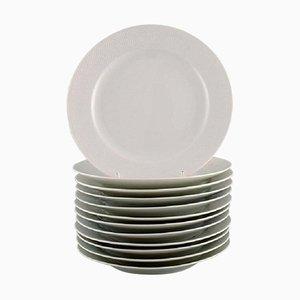 Assiettes à Déjeuner Royal Copenhagen Blanches par Axel Salto, 1960s, Set de 12