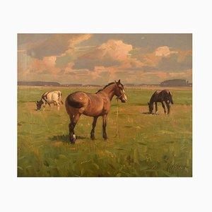 Knud Edsberg, Huile sur Toile, Paysage de Champ avec Chevaux et Vaches