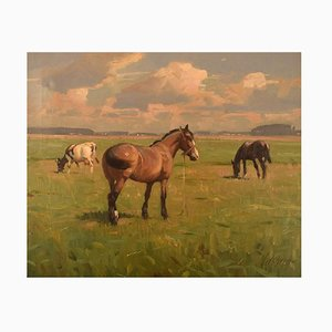 Knud Edsberg, Oil on Canvas, Field Landscape with Horses and Cows