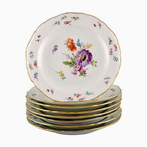 Antique Plates in Porcelain with Hand-Painted Flowers from Meissen, Set of 8