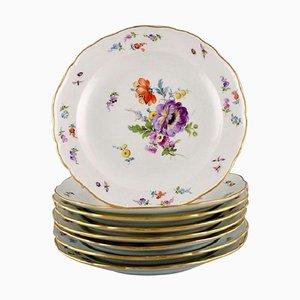 Assiettes Antiques en Porcelaine avec Fleurs Peintes à la Main de Meissen, Set de 8