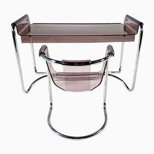 Fabio Lenci Schreibtisch mit passendem Stuhl von Formes Nouvelles, 1970er, 2er Set