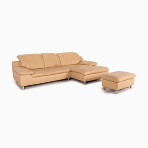 Beige Leather Corner Sofa with Stool by Ewald Schillig, Set of 2
