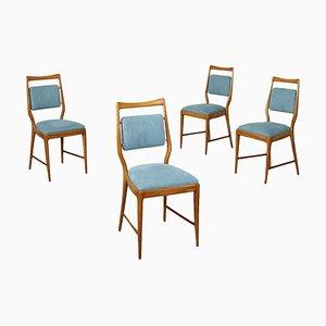 Sedie in faggio tinto e stoffa, anni '60, set di 4