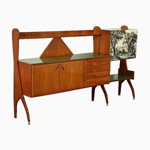 Mahogany Veneer Back-Treated Glass Cabinet, Italy, 1950s
