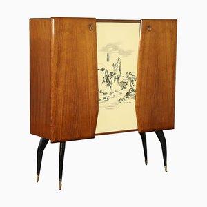 Mobiletto impiallacciato in legno tinto, ottone e vetro, anni '50