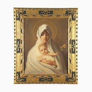 Madonna mit Kind, Öl auf Karton