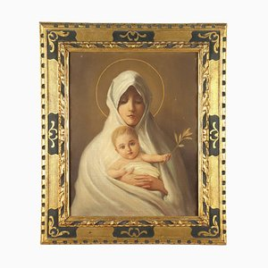 Madonna with Child, Oil on Cardboard