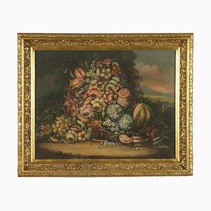 Bodegón con flores y calabaza, óleo sobre lienzo