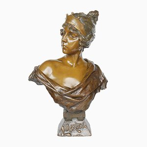 Busto Art Nouveau in bronzo di Emmanuel Lucréce