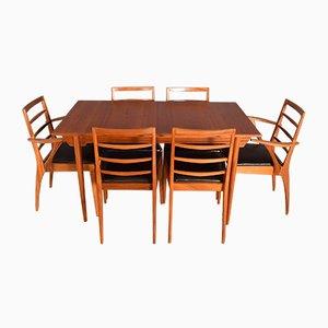 Mesa extensible de teca y seis sillas de McIntosh, años 60. Juego de 7
