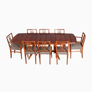 Mahogany & Rio Rosewood Burford Extendable Dining Table & 8 Chairs from Gordon Russell, Set of 9