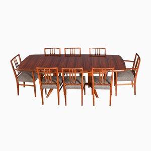 Mesa de comedor extensible de caoba y palisandro de Brasil con 8 sillas de Gordon Russell. Juego de 9