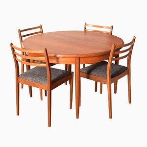 Mesa Fresco redonda de teca con seis sillas de Victor Wilkins para G-Plan. Juego de 7