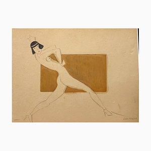 Ugo Pozzo, Ballerina, 1930, Acquarello e Matita