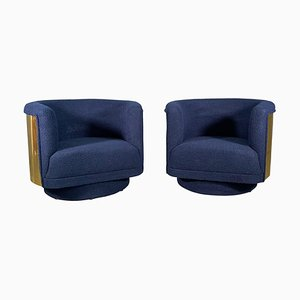Italian Armchairs in Brass and Blue Wool Bouclé Fabric, Set of 2
