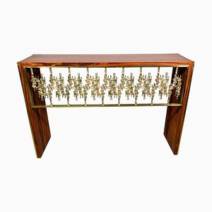 Sculptural Palisander and Brass Console Table by Luciano Frigerio, 1970s