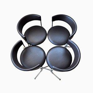 Sillas vintage de acero y cuero tubular de Werner Blaser, años 60. Juego de 4