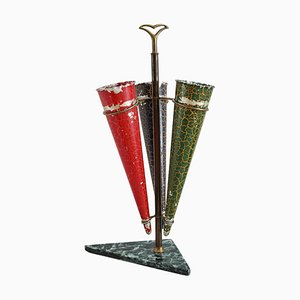 Italian Umbrella Stand in Brass and Marble, 1950s