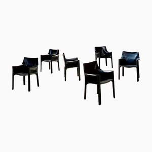 413 Cab Leather Armchairs by Mario Bellini for Cassina, 1977, Set of 6