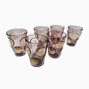 Vasos italianos vintage de cristal de Murano de Ribes Studio. Juego de 6