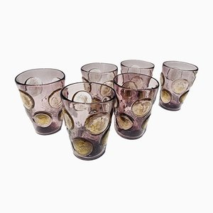Vintage Italian Murano Glass Drinking Glasses From Ribes Studio, Set of 6