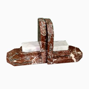 Art Deco Marble Bookends, 1920s, Set of 2