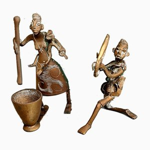 Early 20th Century African Bronze Figurines, Set of 2
