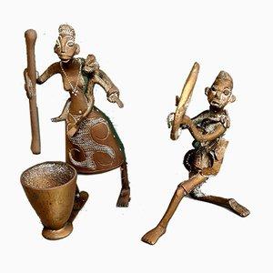 Figuras africanas de bronce de principios del siglo XX. Juego de 2