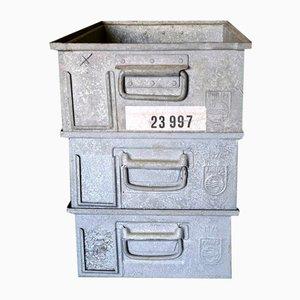 Contenedores de almacenamiento Philips industriales vintage de metal, años 70