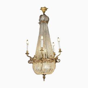 Lámpara de araña Imperio de cristal y bronce dorado
