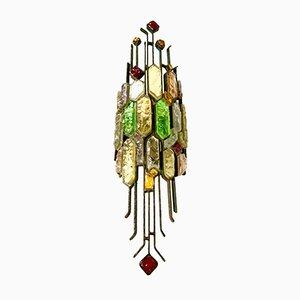 Lámpara de pared individual de cristal de Murano de Longobard, años 70