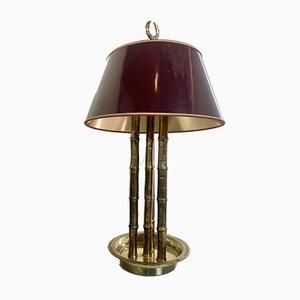 Lámpara de mesa de bambú sintético y latón, años 70