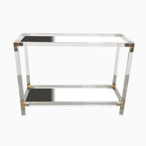 Vintage Italian Hollywood Regency Brass & Plexiglass Side Table, 1970s