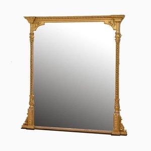 Großer viktorianischer Spiegel mit vergoldetem Holzrahmen