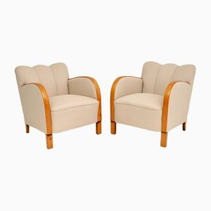 Schwedische Vintage Sessel aus satinierter Birke, 2er Set