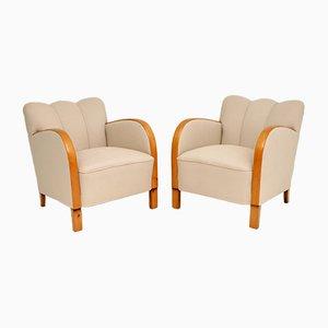 Vintage Swedish Satin Birch Lounge Chairs, Set of 2