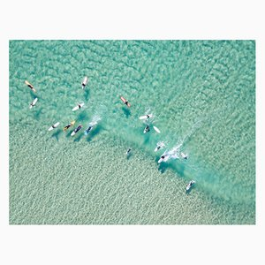 Crystal Clear Waters With Surfers C-Type Print by Vicki Smith