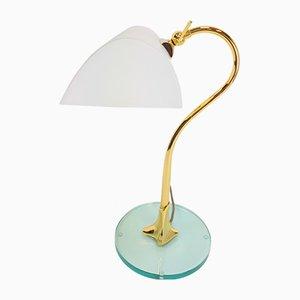 Lámpara de escritorio italiana vintage de latón y vidrio, años 70