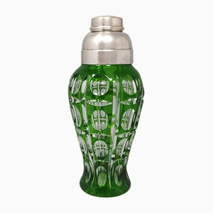 Italienischer böhmischer italienischer Cocktailshaker aus grünem Kristallglas, 1960er