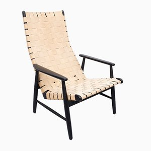 Strap Lounge Chair in the Style of Jens Risom, 1950s