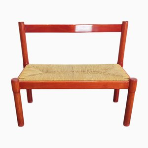 Vintage Paper Cord Bench by Vico Magistretti for Carimate, 1960s