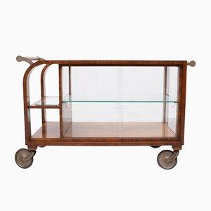 Art Deco Burl Wood Serving Cart, 1920s