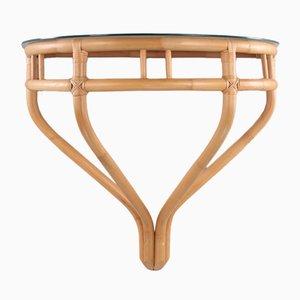 Mesa auxiliar de bambú y vidrio, años 60