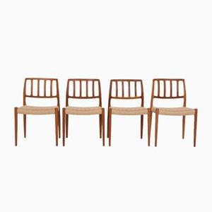Massive Teak Modell 83 Stühle von Niels Otto (NO) Møller für JL Møllers, Denmark, 4er Set