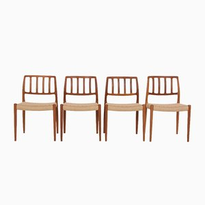 Solid Teak Model 83 Chairs by Niels Otto (N. O.) Møller for J. L. Møllers, Denmark, Set of 4